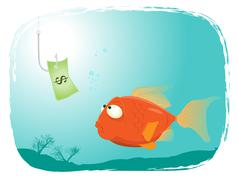 Fishing with money Stock Illustration