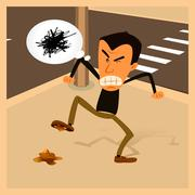 angry man - urban life - stock illustration