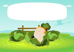 newborn baby in a cabbage - stock illustration