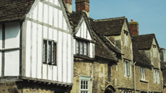 MS Facade of old houses / Cotswolds, Wiltshire, UK Stock Footage