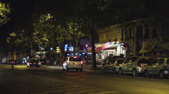 WS Street traffic at night / Paris, France - stock footage