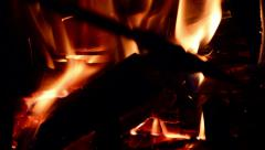 FIREPLACE STOKING CLOSE UP Stock Footage