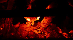 Stock Video Footage of FIREPLACE COALS AND EMBERS