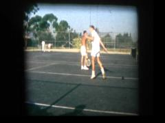 Tennis player upset at missing shot Stock Footage