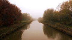 Dutch river on fall morning Stock Footage