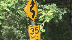 35 MPH curvy road sign - stock footage