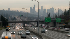 Freeway, Time Lapse, Seattle, I5, Traffic, Congestion, Pollution, Cars, 4K, UHD - stock footage