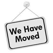 we have moved sign - stock illustration