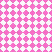 Pink and white diagonal checkers on textured fabric background Stock Illustration