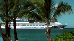 Cayman Islands, smiling German cruise ship behind palm trees Stock Footage
