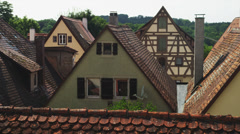 WS PAN Old buildings / Rothenburg ob der Tauber, Germany Stock Footage