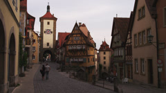 WS Street in old town, Spitalgasse in background / Rothenburg ob der Tauber, Stock Footage