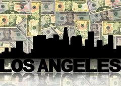 Los angeles skyline reflected with dollars illustration Stock Illustration