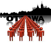 Riviä ihmisiä Ottawa horisonttiin kuva Piirros