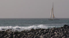 Sailing boat and Surfer Cabo Verde Stock Footage