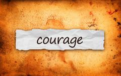 courage title on piece of paper - stock illustration