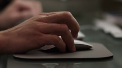 CU R/F Young man's hands using computer at desk / Orem, Utah, USA Stock Footage