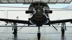 MS PAN Private airplane in hangar / Spanish Fork, Utah, USA Stock Footage