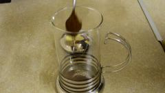 Brewing process in a press coffee pot Stock Footage
