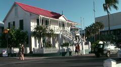 Cayman Islands, the national museum in a white colonial style house Stock Footage
