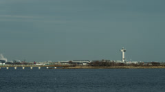 WS LaGuardia Airport seen across bay / Queens, New York City, New York, USA Stock Footage