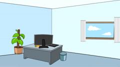 Cartoon Office Scene (Static): Looping - stock footage