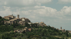WS PAN Old town on hill / Montepulciano,Tuscany,Italy - stock footage