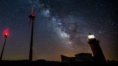 4K Ultra HD milky way, wind turbines generating clean power - stock footage