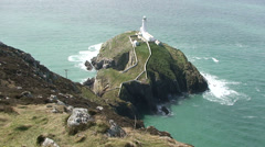 South Stack Lighthouse, Holyhead, Holy Island Anglesey Stock Footage