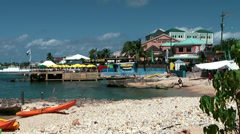 Cayman Islands, the shore of harbor side, sea trek, north church street Stock Footage