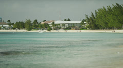Grand Cayman, View from sea to beach Stock Footage