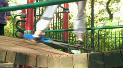 A waveboarder on a playground Stock Footage