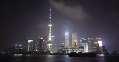 4K stunning Shanghai skyline at night time lapse Stock Footage