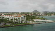 Stock Video Footage of AERIAL WS Overview of cityscape / Aruba, Caribbean