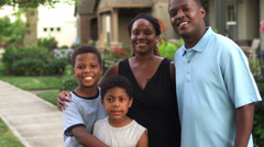 Adorable African American family portrait. Medium shot Stock Footage