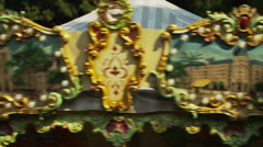 Close up of top of turning carousel / Nice, France Stock Footage