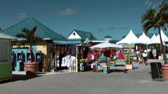Cayman Islands, small market at the cruise harbor Stock Footage