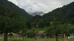 Wide shot of rural mountain valley / Lauterbrunnan, Switzerland Stock Footage