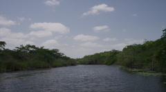 Tracking shot over remote New River / New River, Lamani, Belize, - stock footage