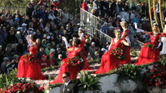 ROSE QUEENS IN PARADE Stock Footage
