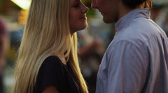 Close up, slow motion shot of young couple kissing / American Fork, Utah, United Stock Footage