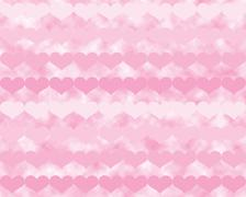 Rows of Pink Valentine Hearts Over Pink Clouds Stock Illustration