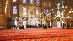 Blue Mosque interior with people in Istanbul Stock Footage