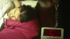 Snooze button morning press Stock Footage
