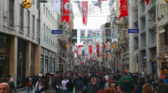 Crowded istiklal street with tourists in Istanbul Stock Footage