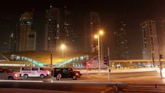 4K (4096x2304) Timelapse: Dubai city traffic at night, United Arab Emirates Stock Footage