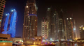 4K (4096x2304) Timelapse: Futuristic Night Dubai Marina, United Arab Emirates Footage