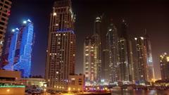 4K (4096x2304) Timelapse: Futuristic Night Dubai Marina, United Arab Emirates Stock Footage
