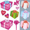 Stock Illustration of set of gift box and holiday decorations