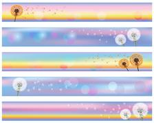 Set of horizontal floral banners with flower dandelion Stock Illustration